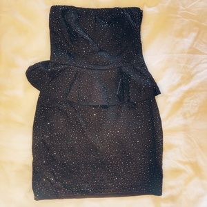 ZARA Black Beaded Strapless Peplum Mini Dress